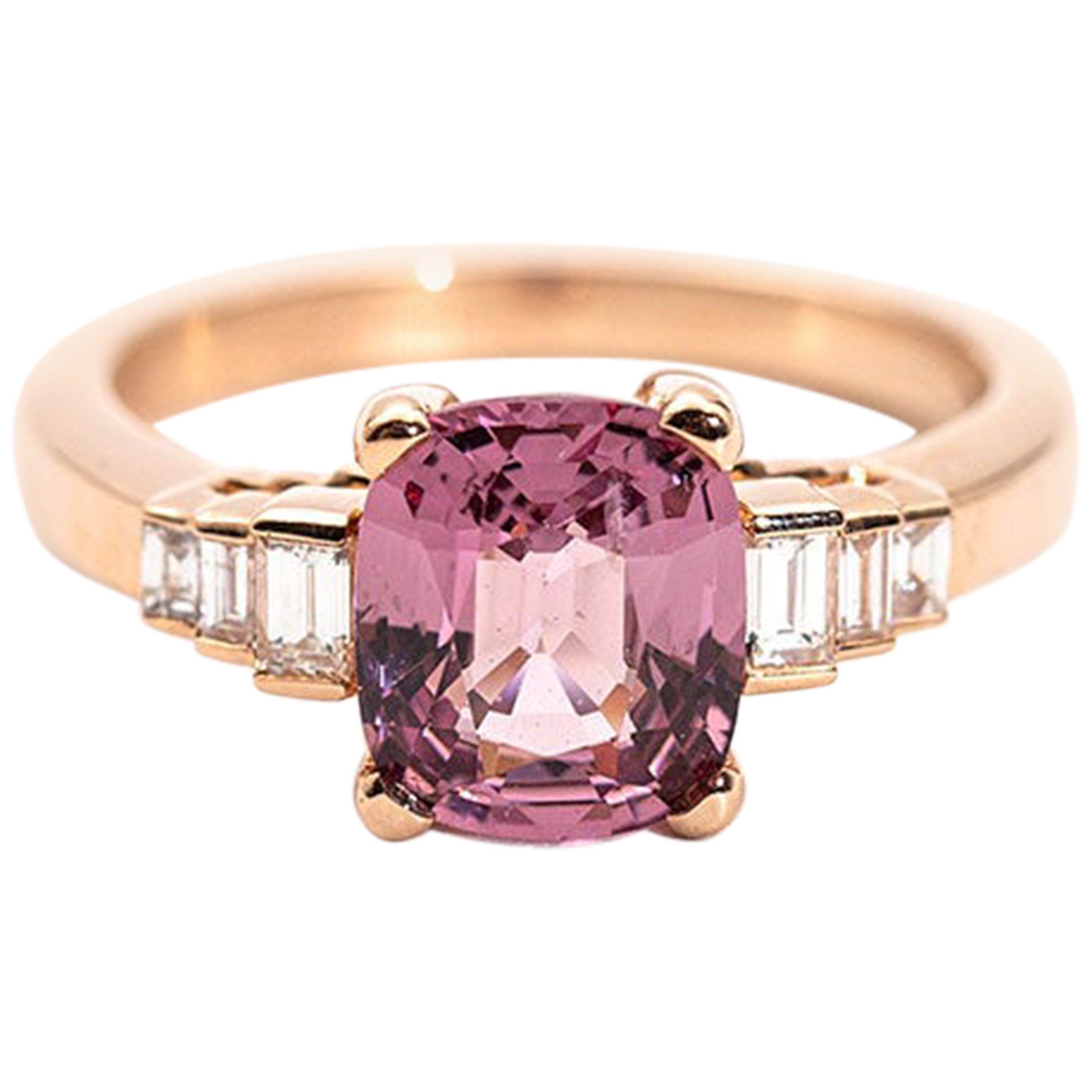 2.21 Carat Cushion Cut Bright Pink Spinel and Diamond 18 Carat Rose Gold Ring