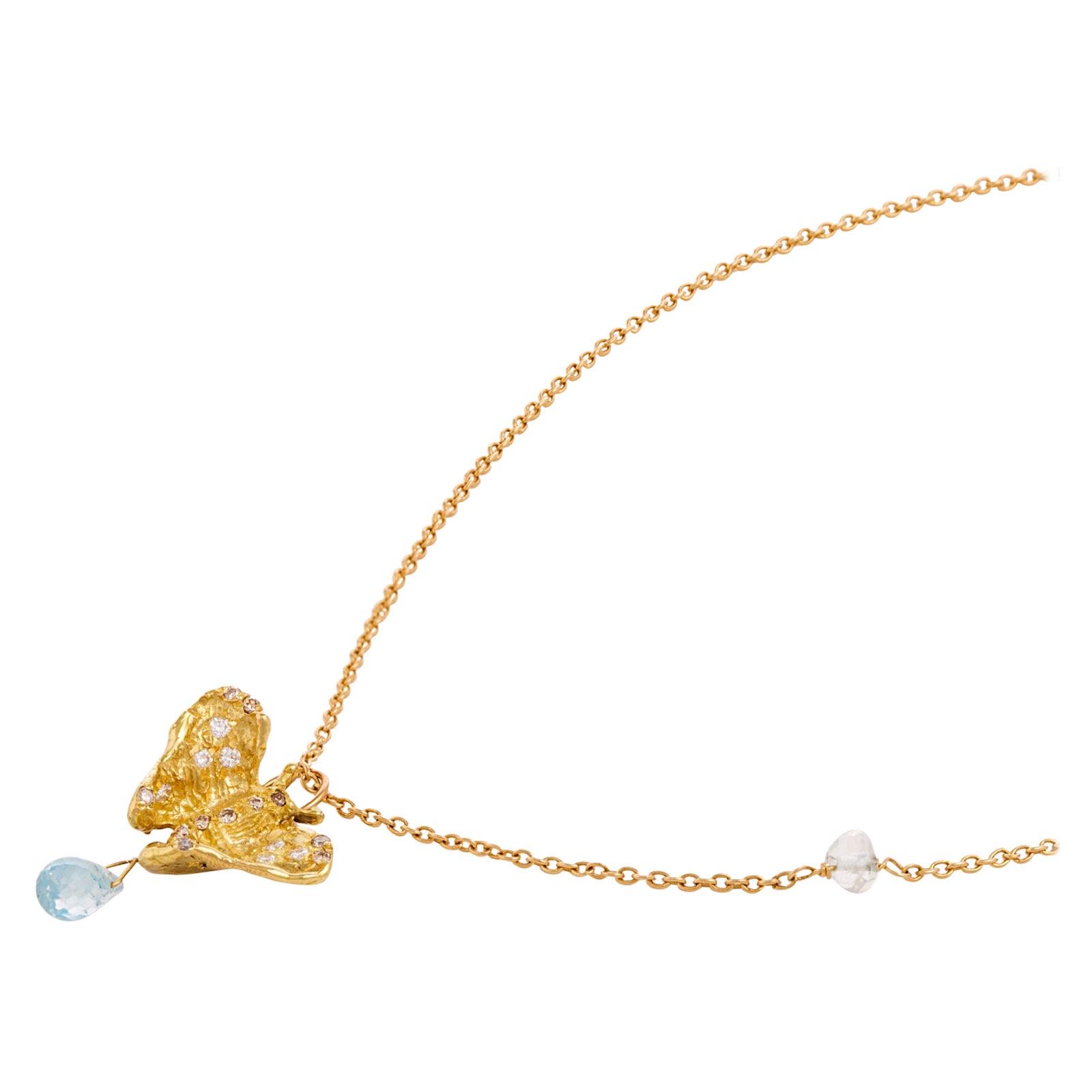 Ugolini 18Karat Yellow Gold Blue Topaz 0.8Karat White Diamond Butterfly Necklace