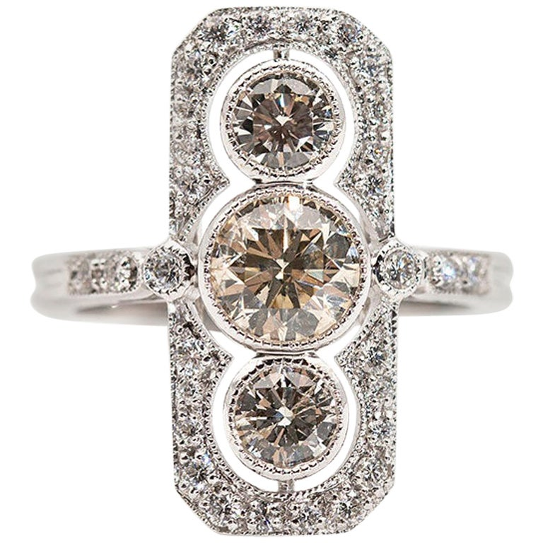 1.82 Carat Certified Round Brilliant Diamond 18 Carat Gold Art Deco Style Ring