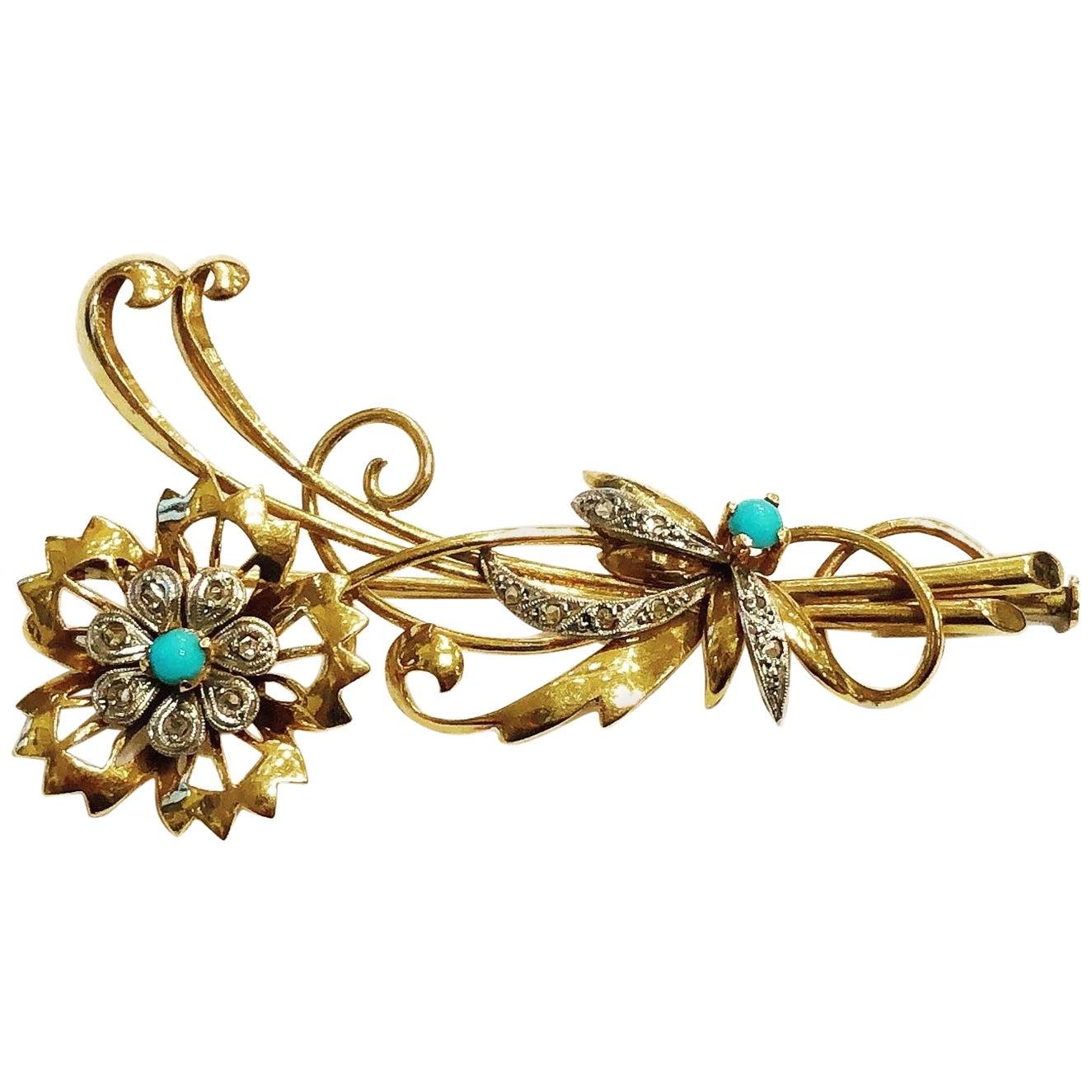 1940s Retro Platinum, Yellow Gold, Diamonds, Turquoise Flowers Bouquet Brooch