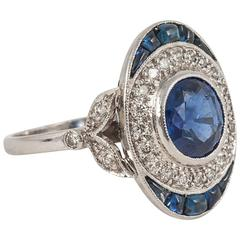 Oval Sapphire Diamond platinum cluster ring