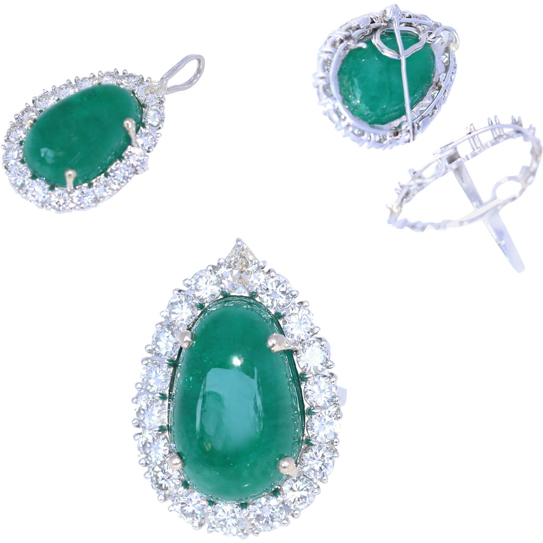 22 Carat Emerald 3 Carat Diamonds Ring Pendant Brooch Transformer Platinum, 1945