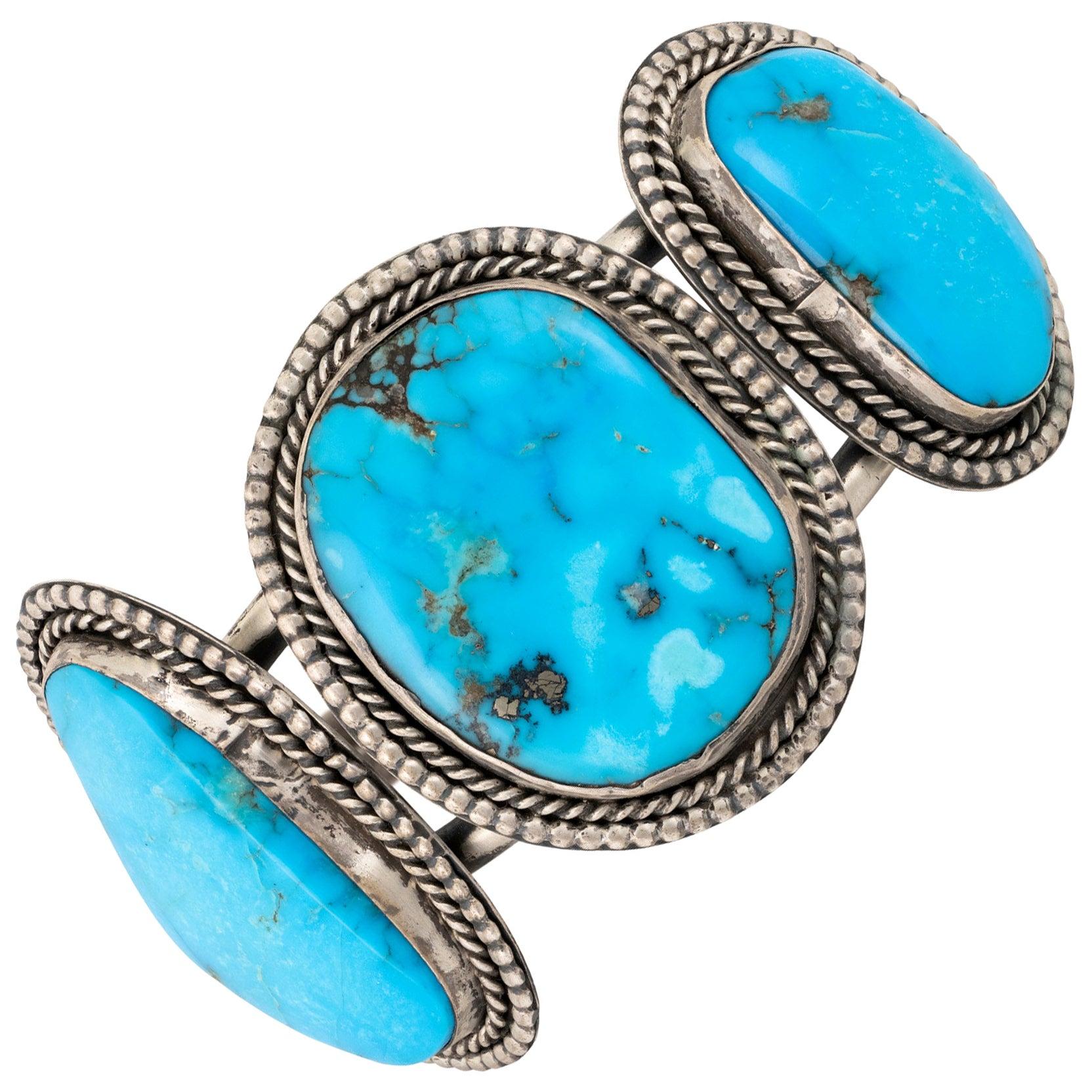 Navajo Kingman Turquoise and Sterling Bracelet