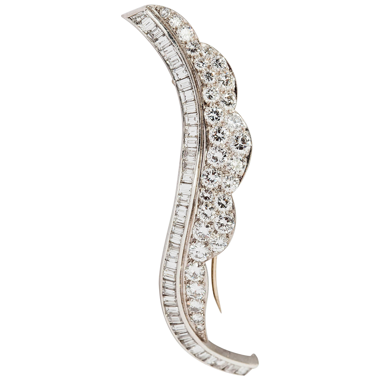 Beautiful Diamond Platinum Leaf Brooch