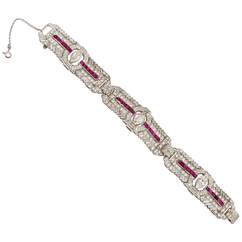 Ruby Diamond Platinum Art Deco Bracelet