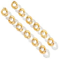 Seaman Schepps Crystal Gold Link Bracelets