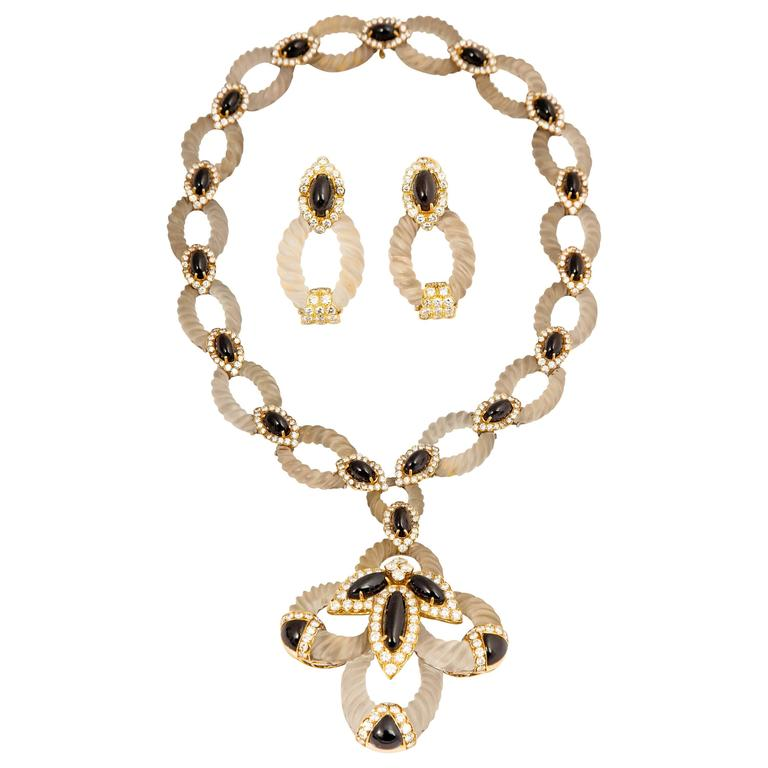 Hammerman Bros. Elegant onyx crystal gold earrings and necklace