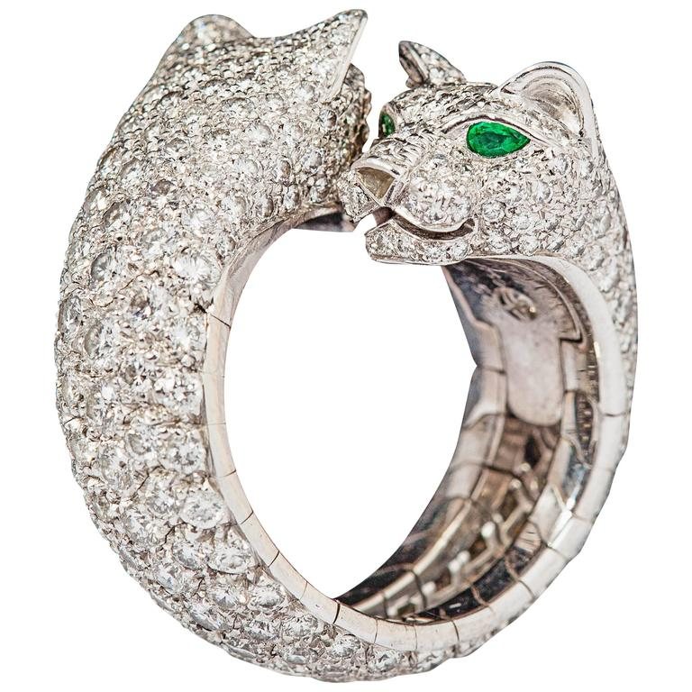 Cartier Stunning double panther emerald diamond gold ring 1