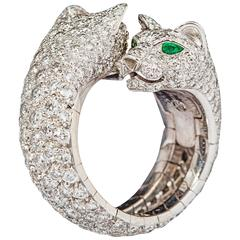 Cartier Stunning double panther emerald diamond gold ring