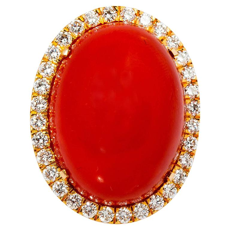 GIA certified coral diamond Gold ring For Sale