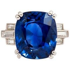 Gorgeous Art Deco Blue Sapphire Diamond Platinum Ring