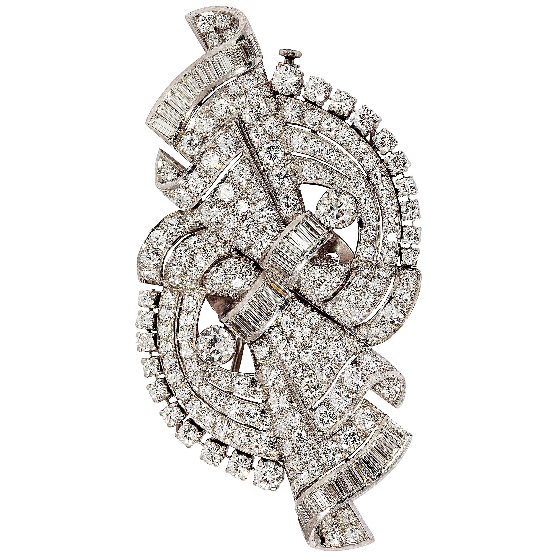 Beautiful Art Deco Diamond Platinum Double Clip Brooch