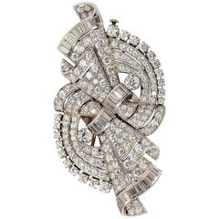 Beautiful Art Deco Diamond Platinum Double Clip Brooch