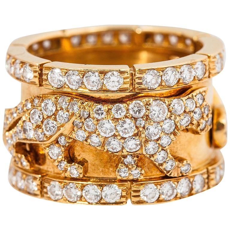 Cartier diamond gold walking panther ring For Sale
