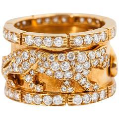 Cartier diamond gold walking panther ring