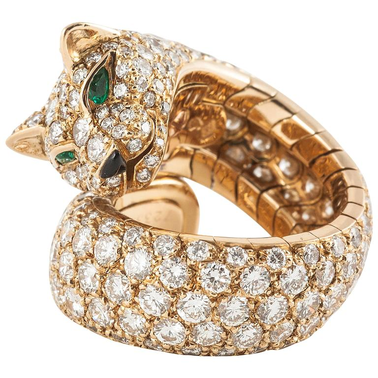 Cartier Panther enamel emerald diamond gold Ring  1