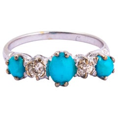 Vintage Turquoise and Diamond 18 Carat White Gold Five-Stone Ring