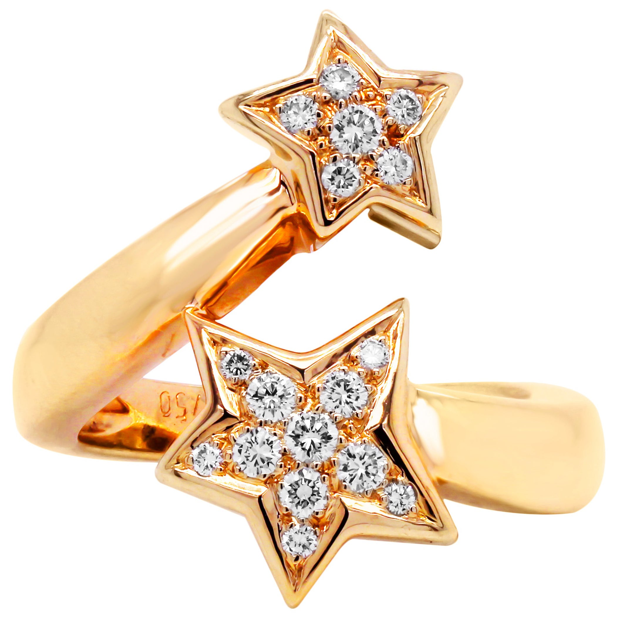 Chanel 18 Karat Yellow Gold Diamond Comete Two Stars Bypass Ring