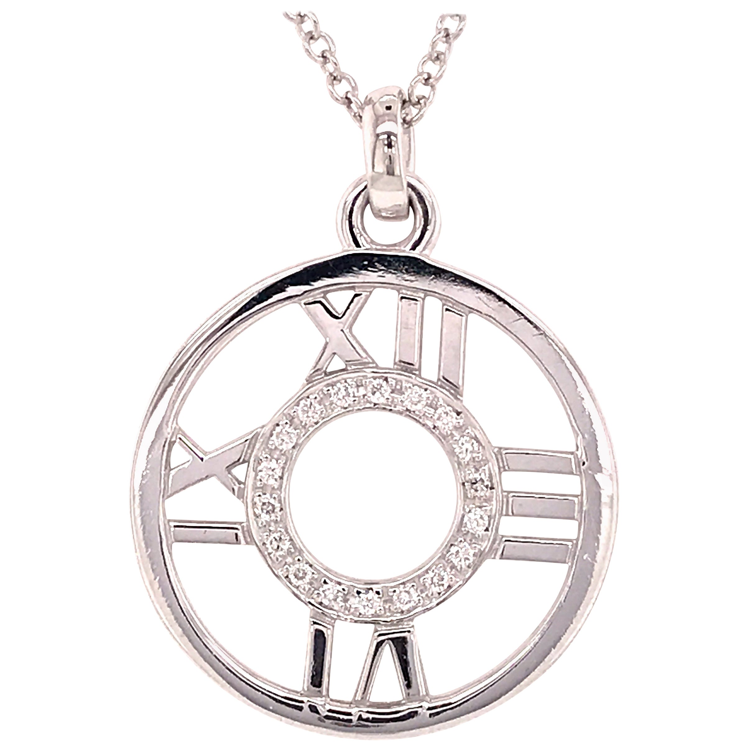 18 Karat Tiffany & Co. Atlas Diamond Circle Roman Numeral Pendant White Gold