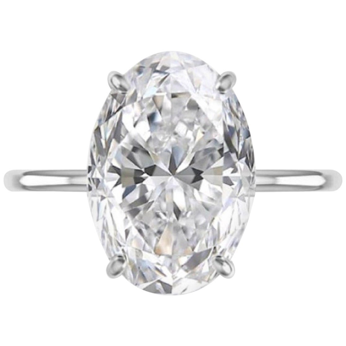 GIA Certified 2.09 Carat Oval Diamond Platinum Solitaire Ring E Color VS1