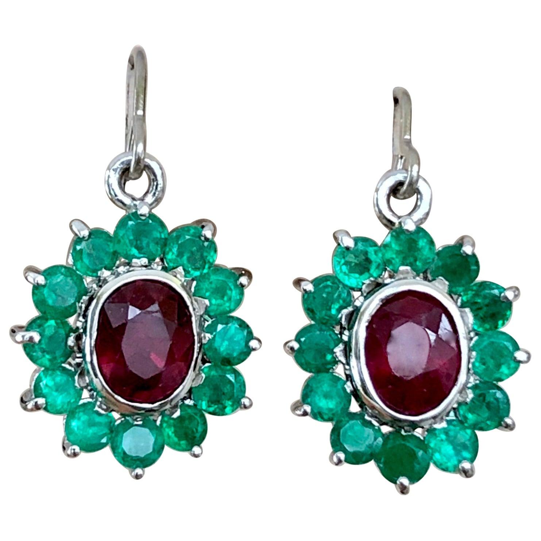 18 Karat White Gold Ruby and Colombian Emerald Dangle Earrings