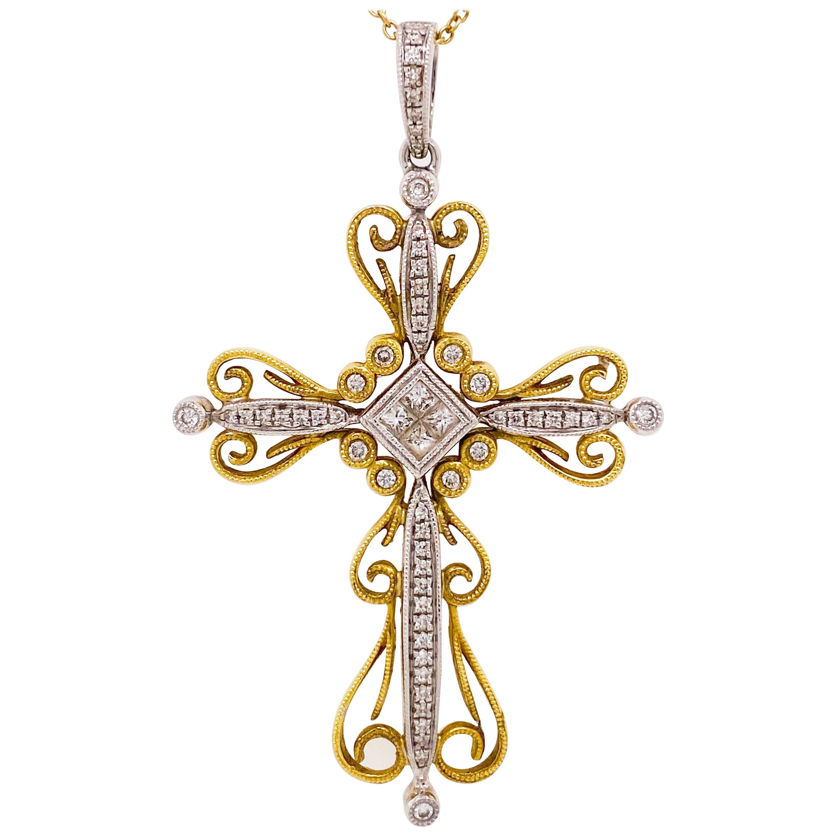 Diamond Cross Necklace, 14 Karat Yellow White Gold Diamond Cross Pendant Chain