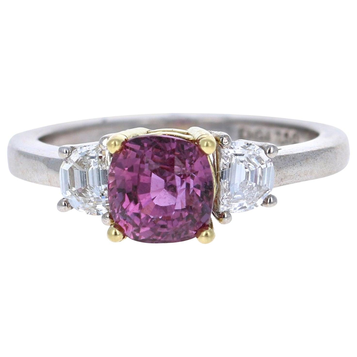 GIA Certified 2.64 Carat Pink Sapphire Diamond 18 Karat White Gold Ring