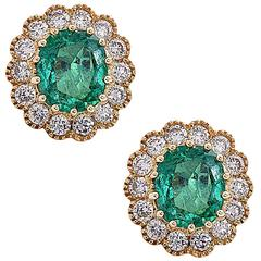 Floral Emerald Diamond Gold Stud Earrings