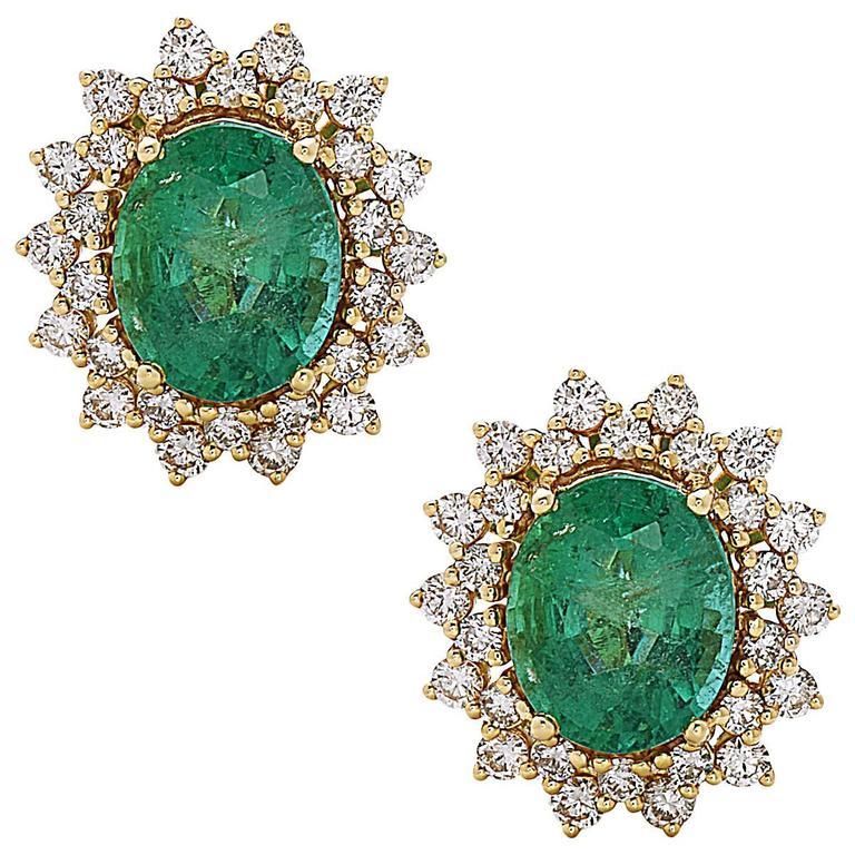Oval Emerald Round Diamond Gold Stud Earrings
