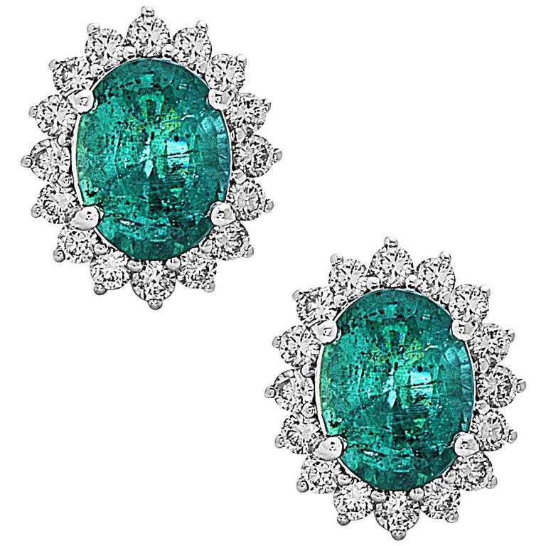Stunning Oval Emerald Round Diamond Gold Stud Earrings