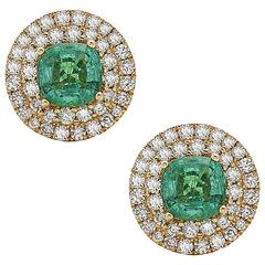 Luxurious Round Emerald Diamond Gold Stud Earrings
