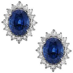 Charming Blue Sapphire Diamond gold Earrings