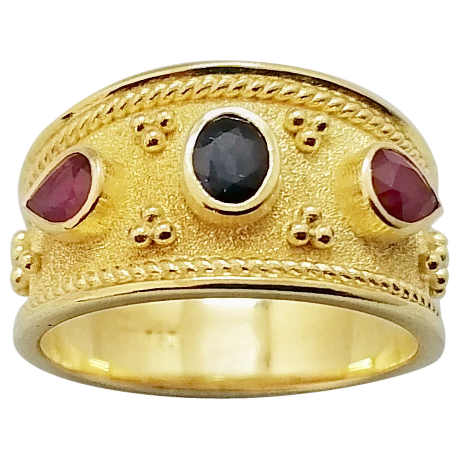 Georgios Collections 18 Karat Yellow Gold Sapphire and Ruby Byzantine Band Ring