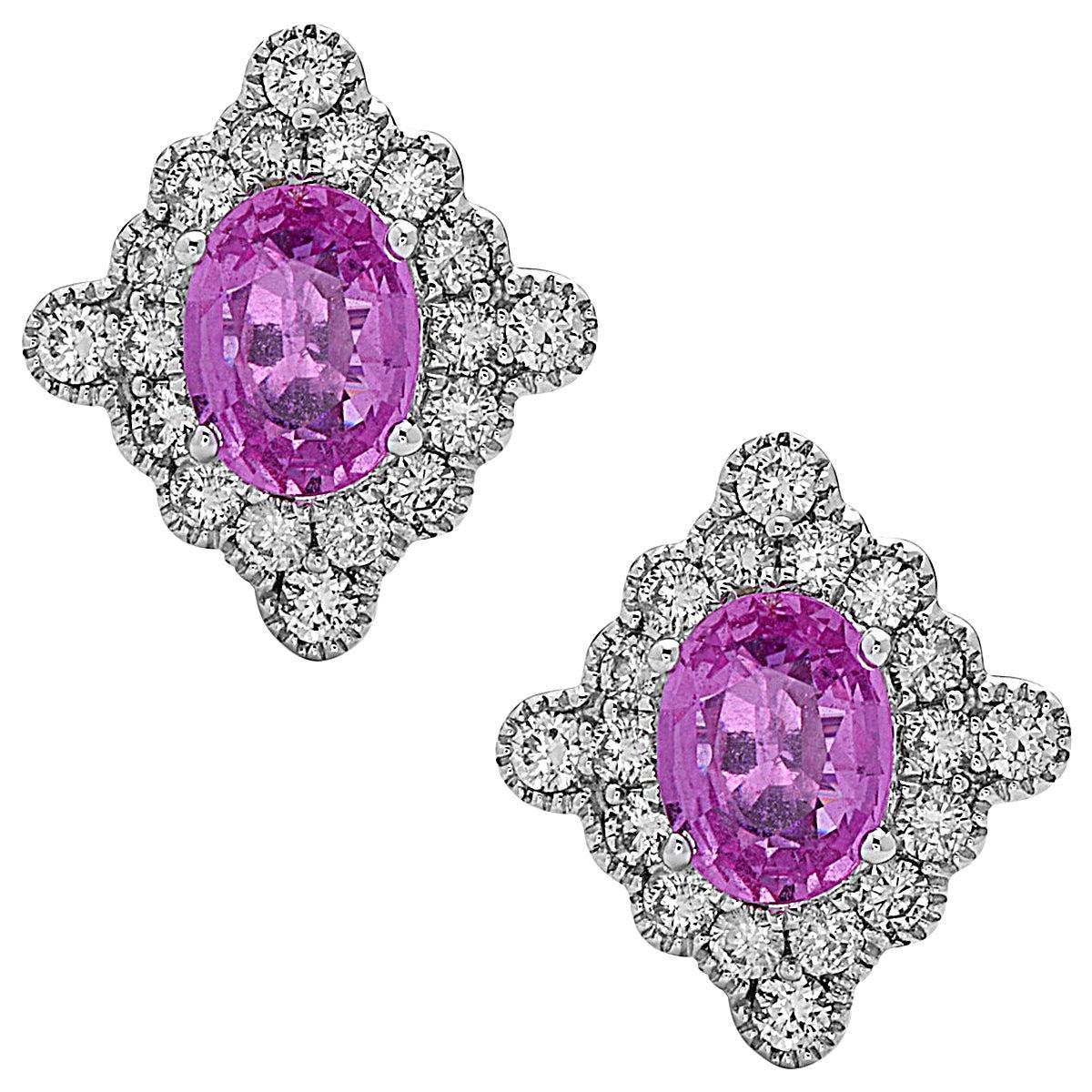 Stunning Pink Sapphire Diamond Gold Stud earrings
