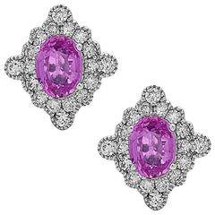 Stunning Pink Sapphire Diamond Gold Stud earrings