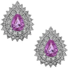 Exquisite Pink Sapphire Diamond Gold Stud Earrings