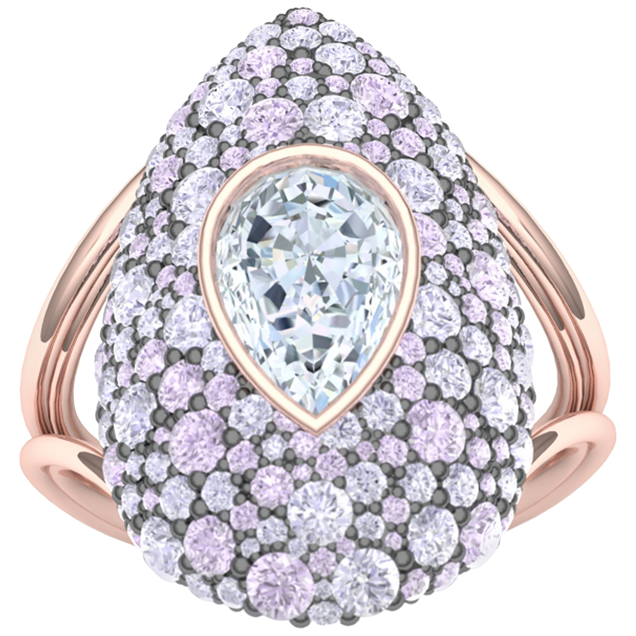 3 Carat Diamond and Purple Pink Sapphires Rose Gold Ring