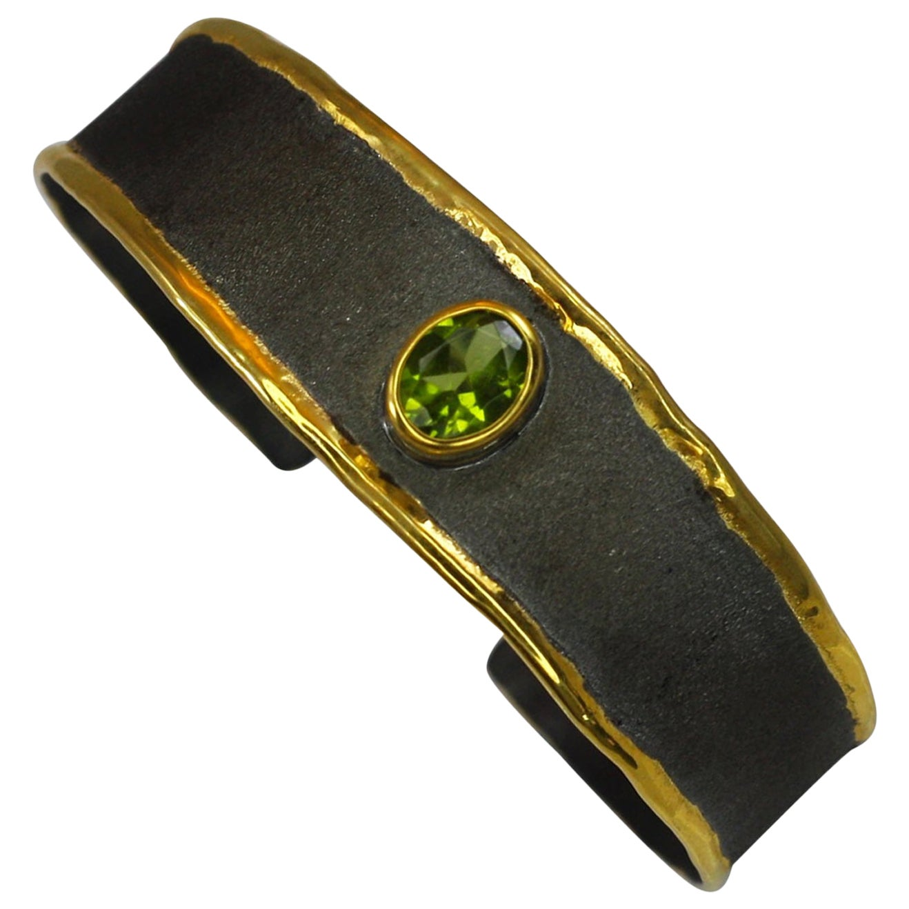 Yianni Creations Fine Silver and Gold Two-Tone Black Rhodium Peridot Bracelet