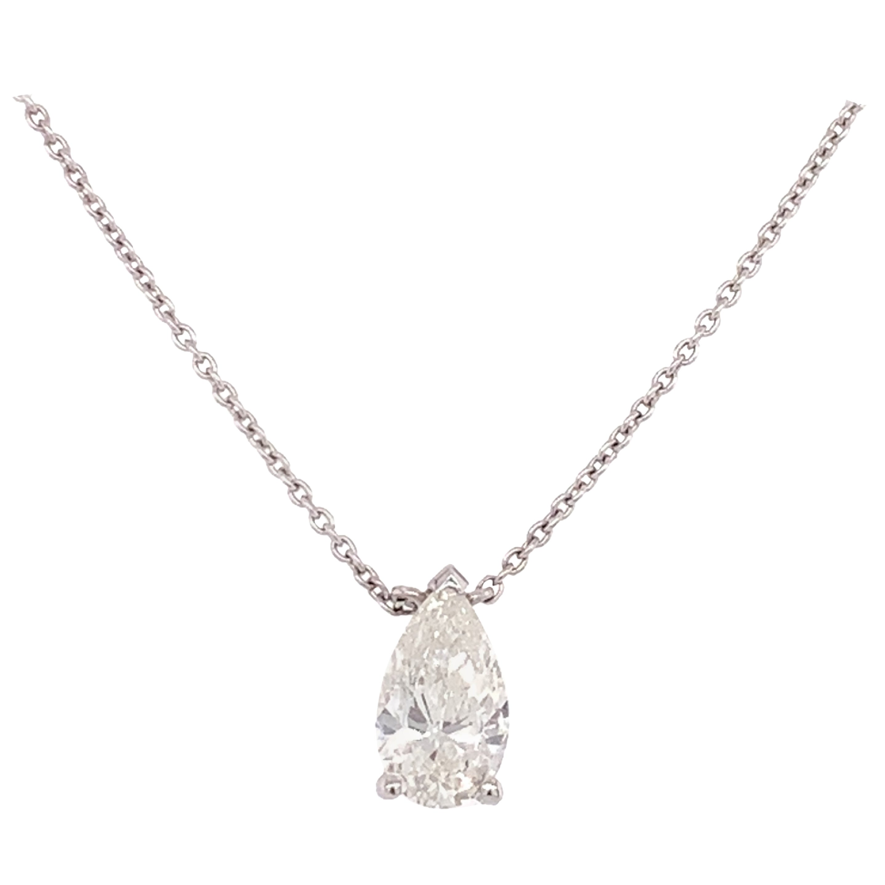 GIA Certified Pear Shaped Diamond Pendant Necklace
