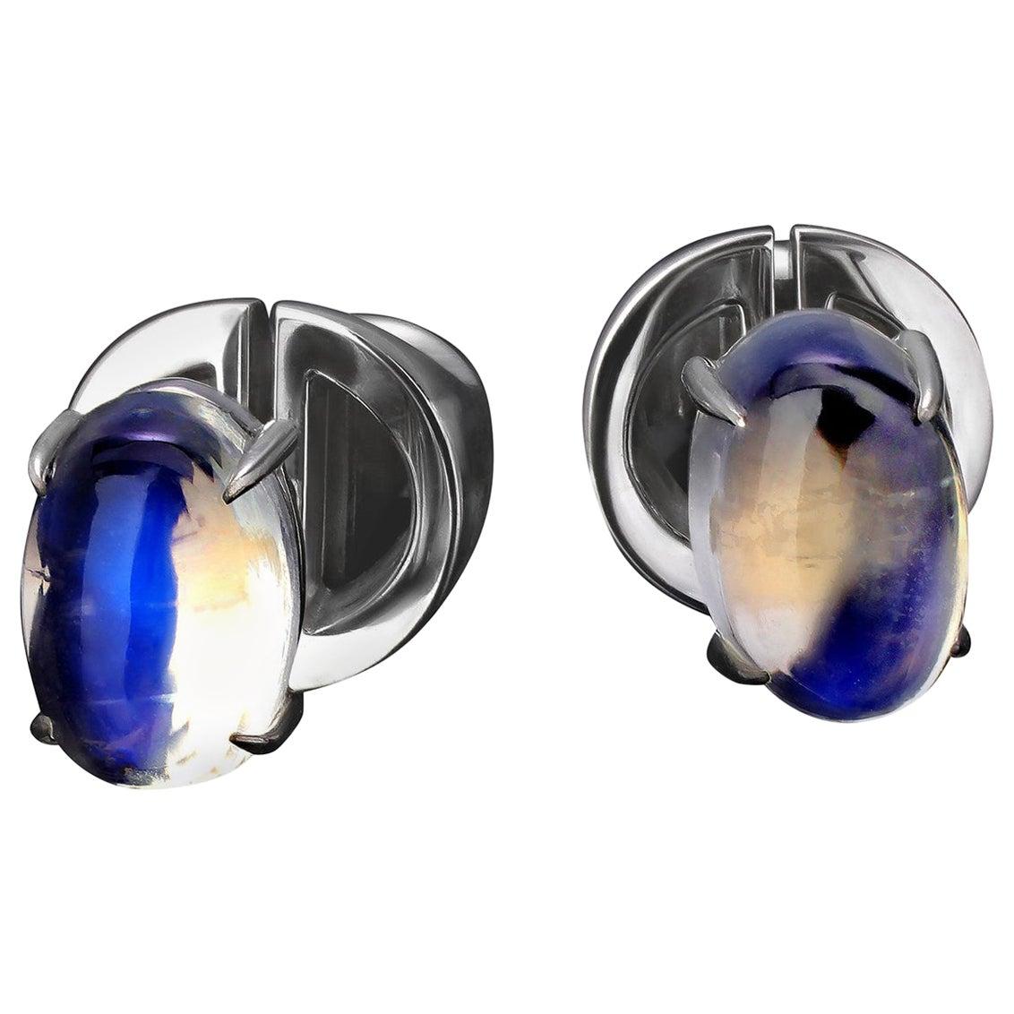 Moonstone Earrings Gold Fine Jewelry Studs Mens Unisex Jewelry Gemstone vca art