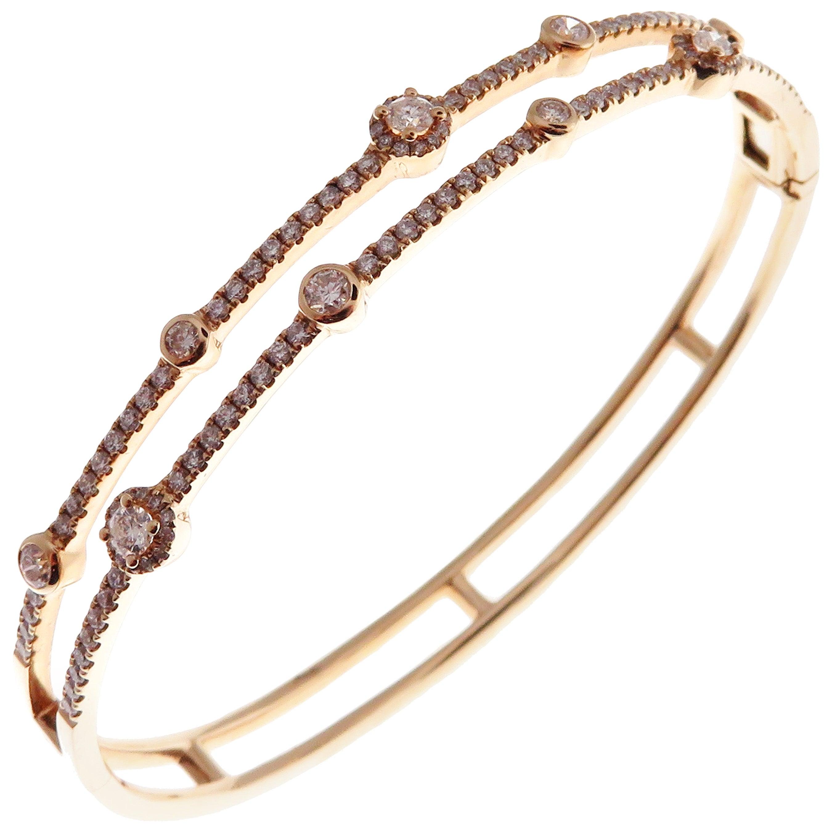 18 Karat Rose Gold Diamond Delicate Double Row Pave Bangle Bracelet