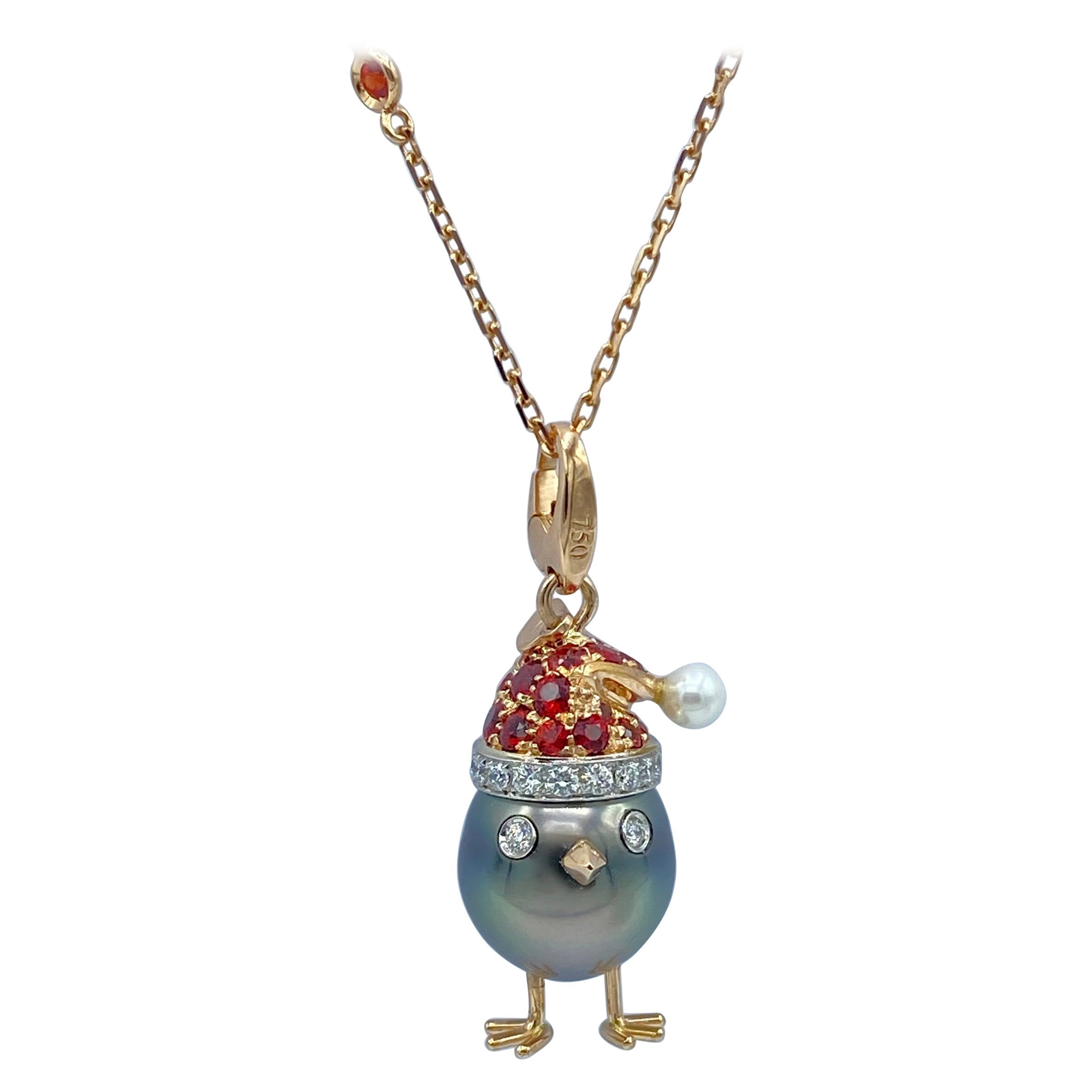 Sapphire Diamond 18kt Gold Pearl Christmas Chick Charm Pendant/Necklace
