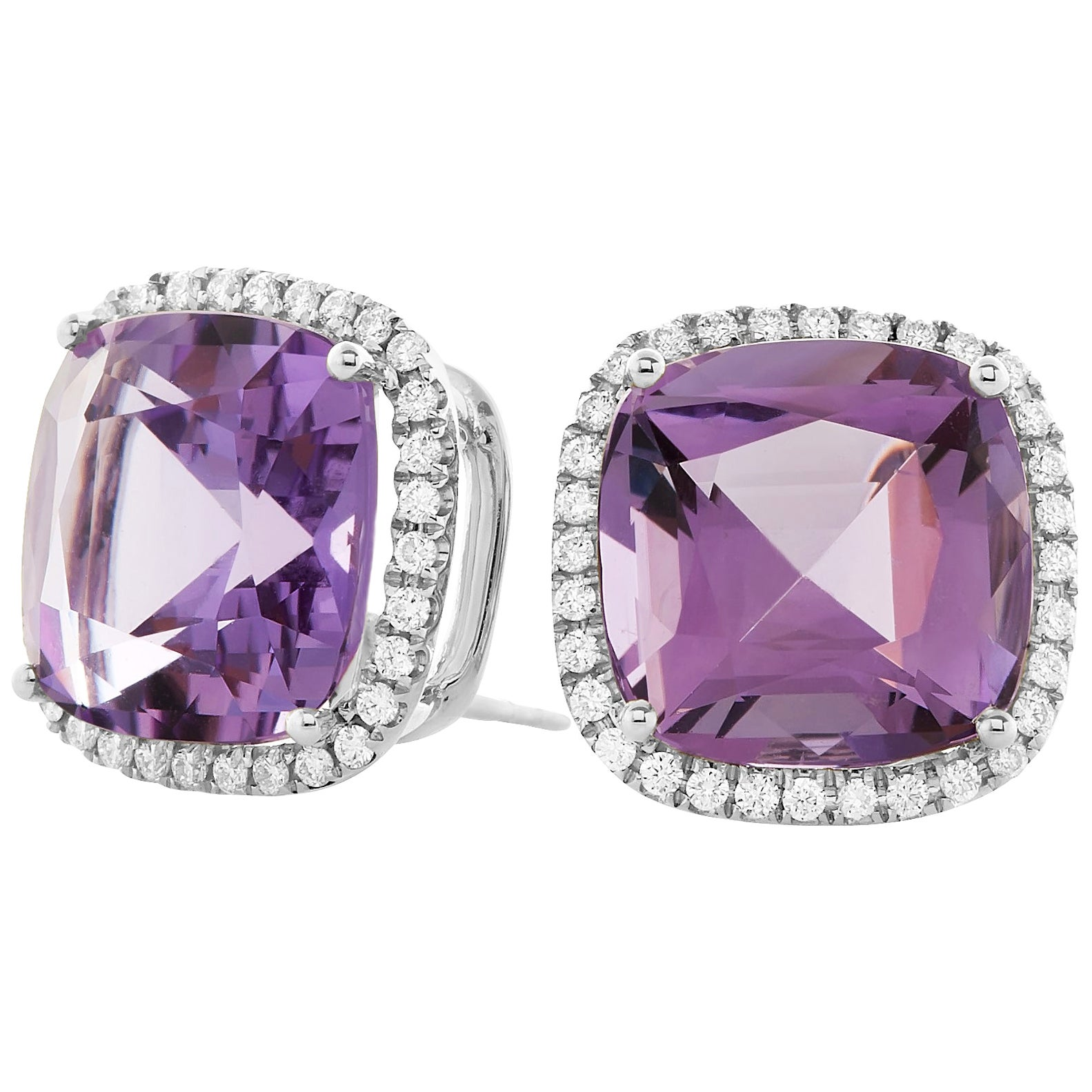 Goshwara Amethyst and Diamond Stud Earrings