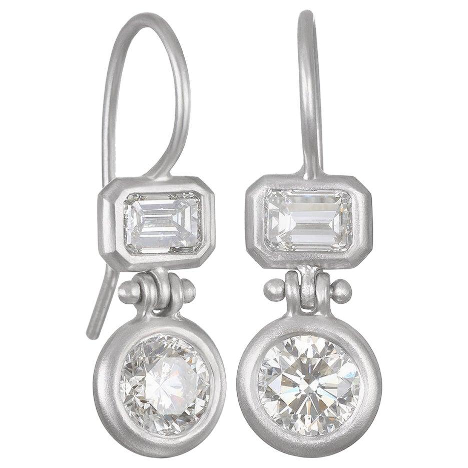 Faye Kim Platinum Double Diamond Hinge Earrings