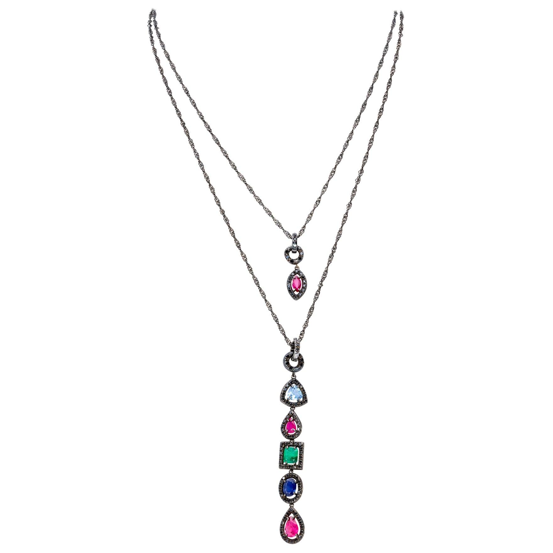 Pendants in Precious Stones and Black Diamonds from d'Avossa Rainbow Collection