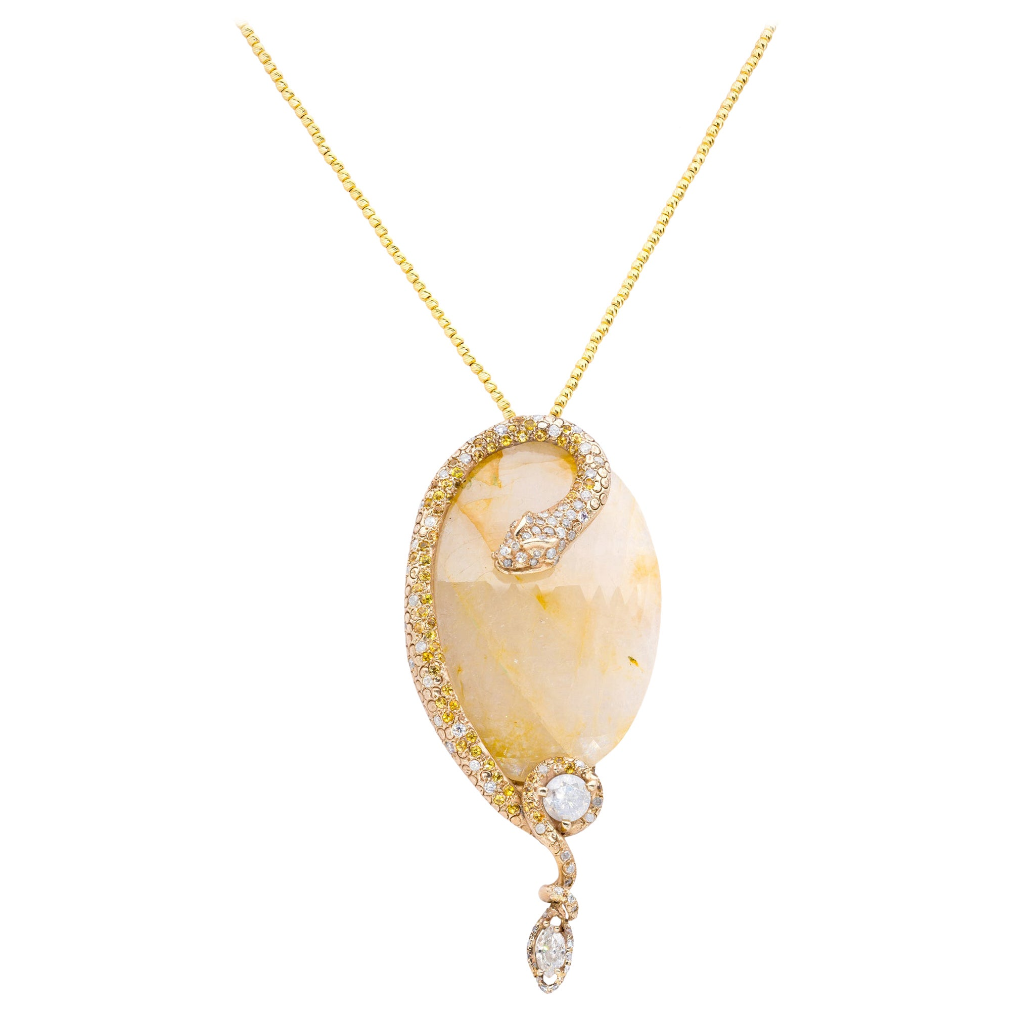 d'Avossa Yellow Sapphire Pendant Embraced by a Snake in Yellow Diamonds