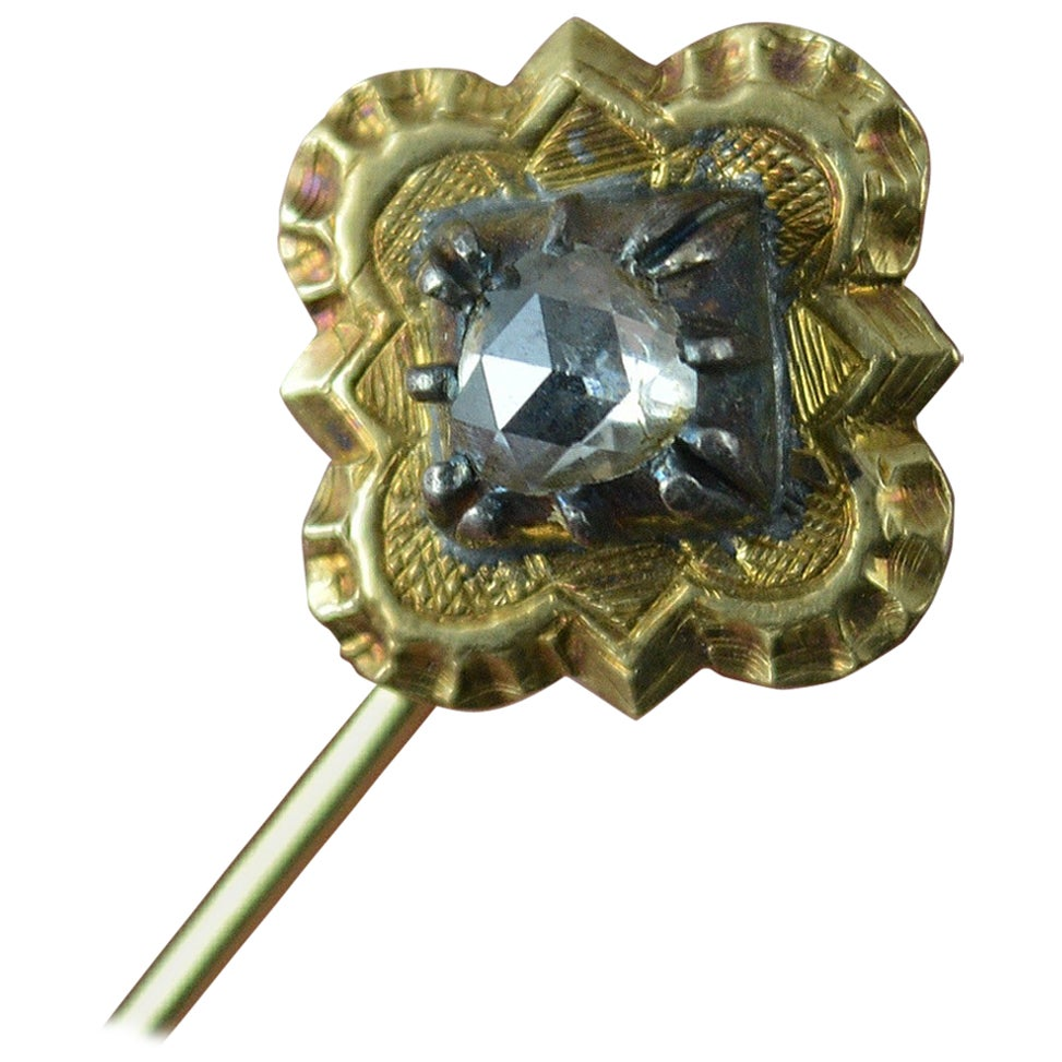 Victorian Gold and Rose Cut Diamond Solitaire Stick or Tie Pin