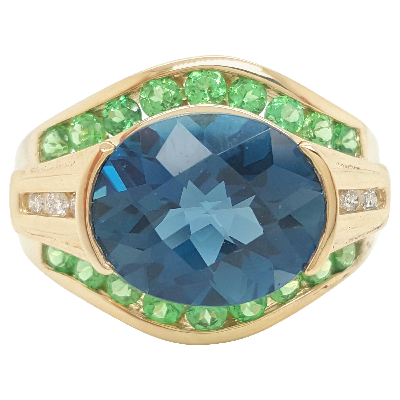 Topaz, Diamond, Peridot 14 Karat Yellow Gold Ring
