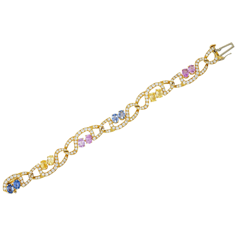 Tiffany & Co. Vintage 17.80 Carat Sapphire Diamond 18 Karat Gold Link Bracelet