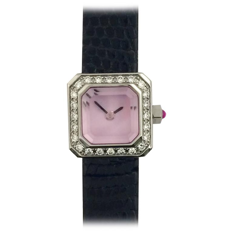 Corum Lady's Stainless Steel Diamond Pink Dial Sugar Cube Wristwatch  For Sale